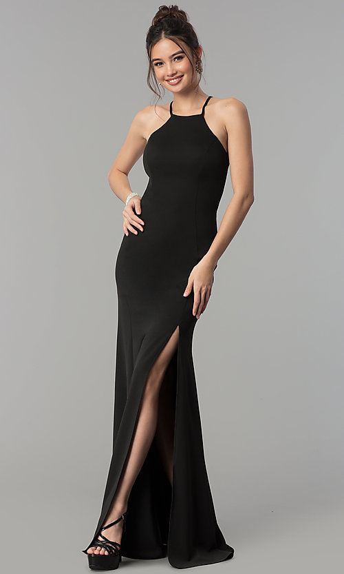 Image of high-square-neck jersey long prom dress with train. Style: PO-8156 Front Image
