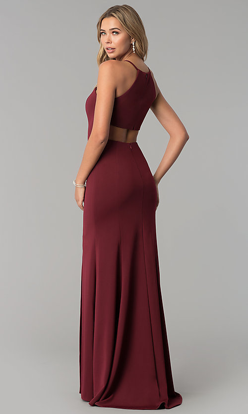 Image of high-square-neck jersey long prom dress with train. Style: PO-8156 Back Image