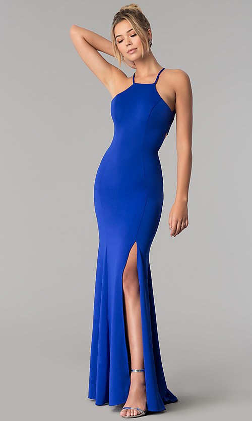 Image of high-square-neck jersey long prom dress with train. Style: PO-8156 Detail Image 4