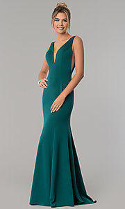 Image of illusion v-neck jersey mermaid formal dress. Style: PO-8158 Front Image