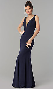 Image of formal long jersey prom dress with v-neckline. Style: PO-8152 Detail Image 3