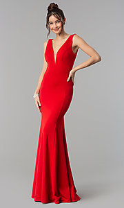 Image of formal long jersey prom dress with v-neckline. Style: PO-8152 Front Image