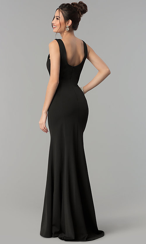 Image of formal long jersey prom dress with v-neckline. Style: PO-8152 Back Image