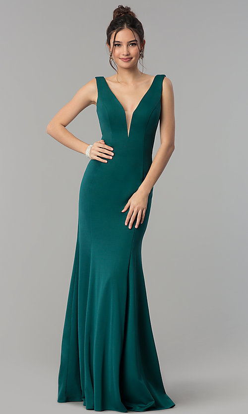 Image of formal long jersey prom dress with v-neckline. Style: PO-8152 Detail Image 2
