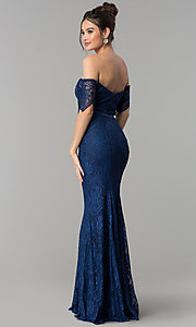 Image of off-the-shoulder long lace formal dress with sleeves. Style: PO-8030 Back Image