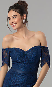Image of off-the-shoulder long lace formal dress with sleeves. Style: PO-8030 Detail Image 1