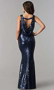 Image of open-cowl-back long formal sequin prom dress.  Style: LP-24796 Back Image