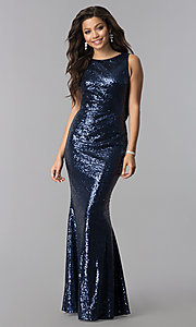 Image of open-cowl-back long formal sequin prom dress.  Style: LP-24796 Front Image