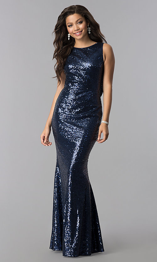 2cc8de64bad97 Image of open-cowl-back long formal sequin prom dress. Style: LP