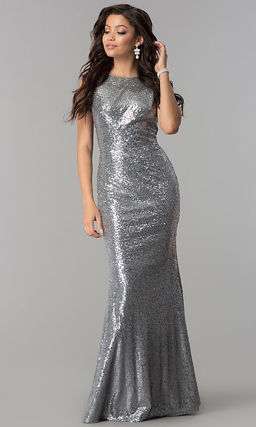 Long Formal Sequin Party Dress with Open Cowl Back