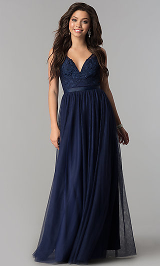 Illusion-Bodice Long Prom Dress with Lace Applique