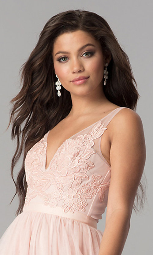 Image of illusion-bodice long prom dress with lace applique. Style: LP-27094 Detail Image 5