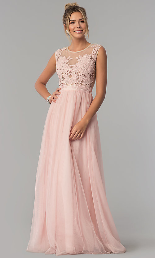 Image of illusion-lace bodice long tulle a-line prom dress. Style: LP-24813 Detail Image 2