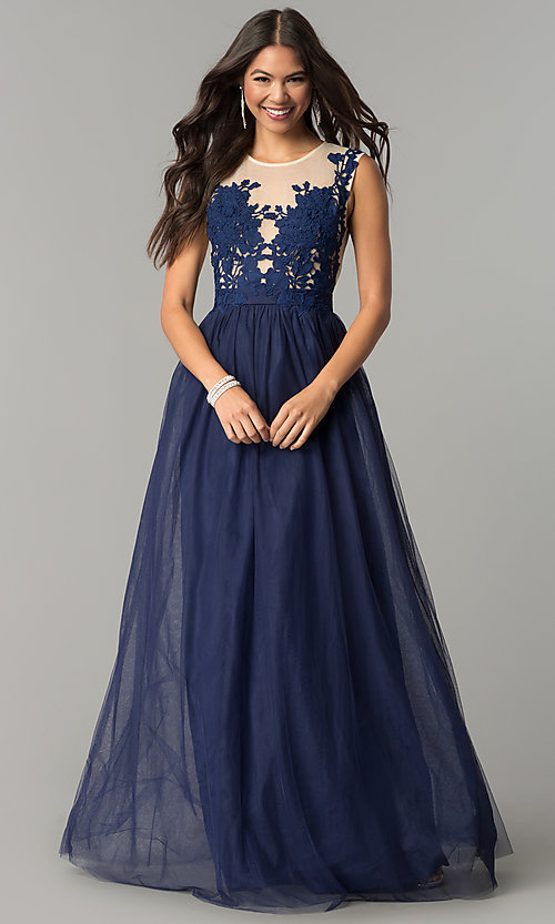 Image of illusion-lace bodice long tulle a-line prom dress. Style: LP-24813 Detail Image 3