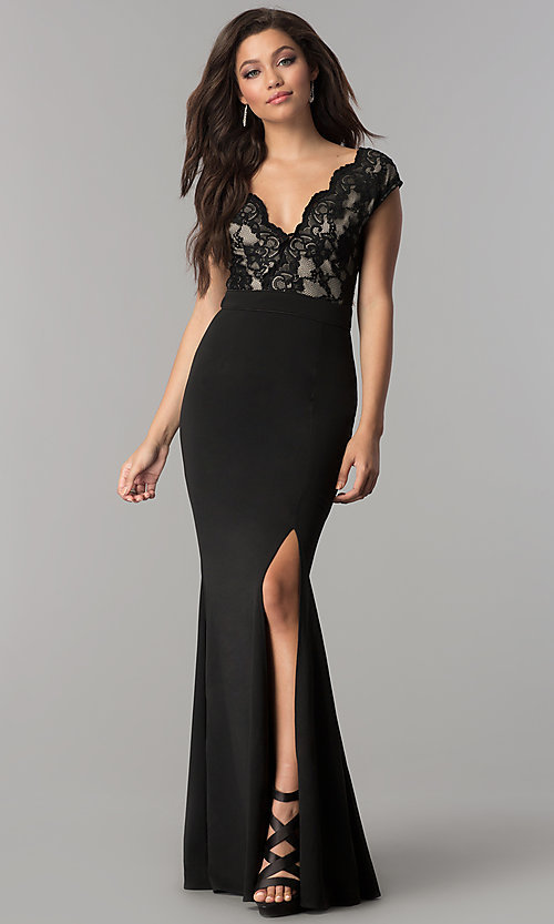 Image of cap-sleeve long prom dress with v-neck lace bodice. Style: LP-24577 Detail Image 1