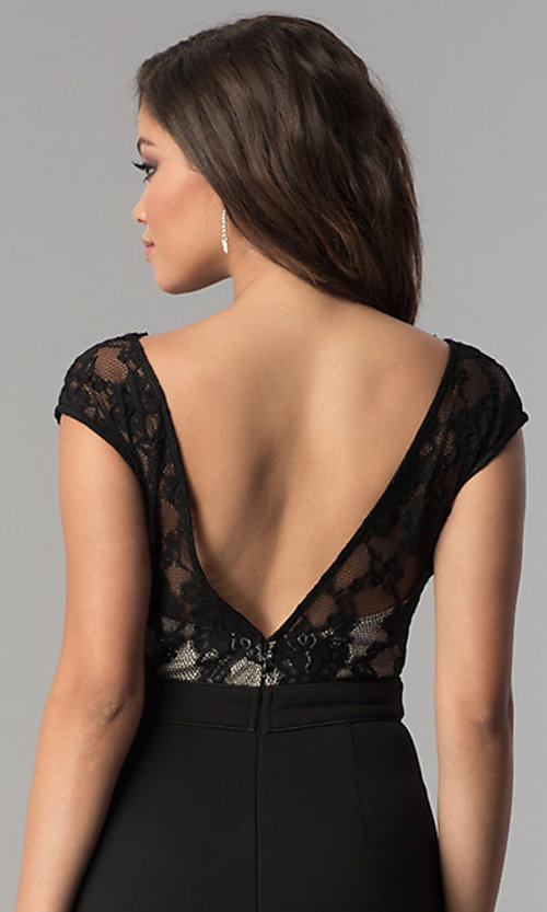 Image of cap-sleeve long prom dress with v-neck lace bodice. Style: LP-24577 Detail Image 3