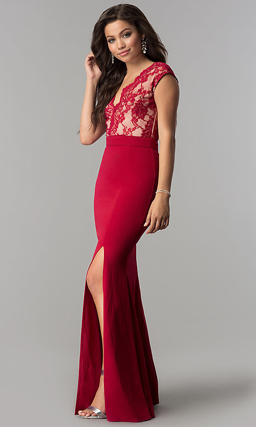 Image of cap-sleeve long prom dress with v-neck lace bodice. Style: LP-24577 Front Image