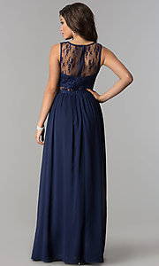 Image of long chiffon formal prom dress with lace applique. Style: LP-24603 Back Image
