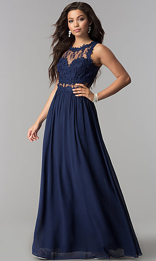 Long Chiffon Formal Prom Dress with Lace Applique
