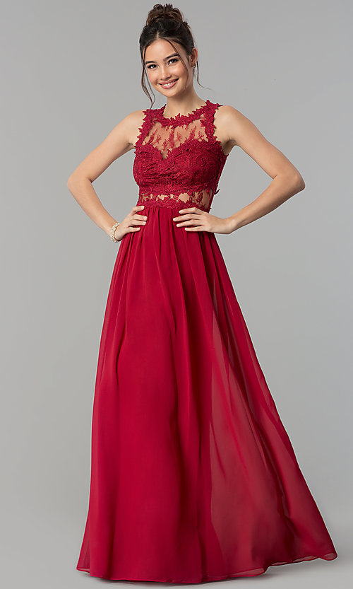 Image of long chiffon formal prom dress with lace applique. Style: LP-24603 Detail Image 3