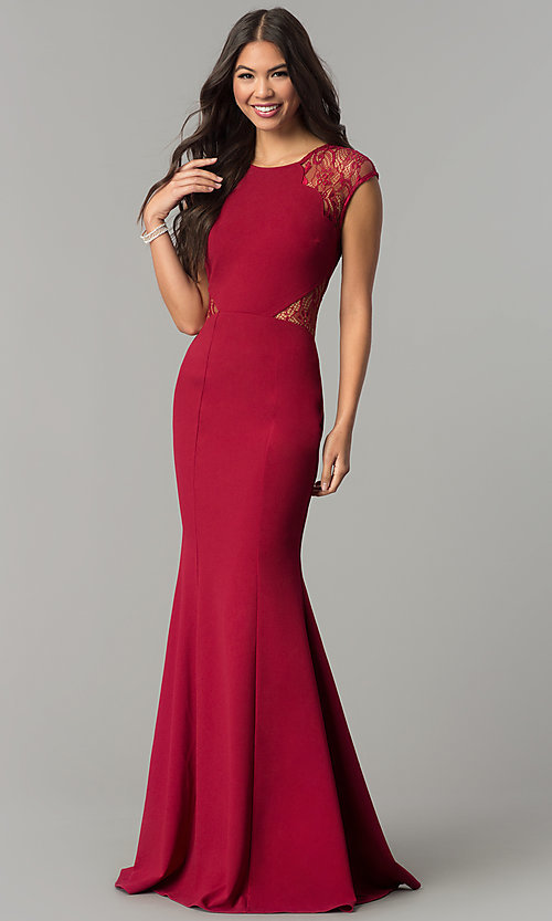Image of long prom dress with lace shoulders and waist. Style: LP-24550 Front Image