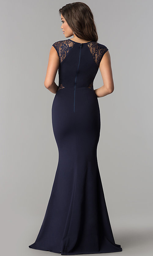 Image of long prom dress with lace shoulders and waist. Style: LP-24550 Back Image