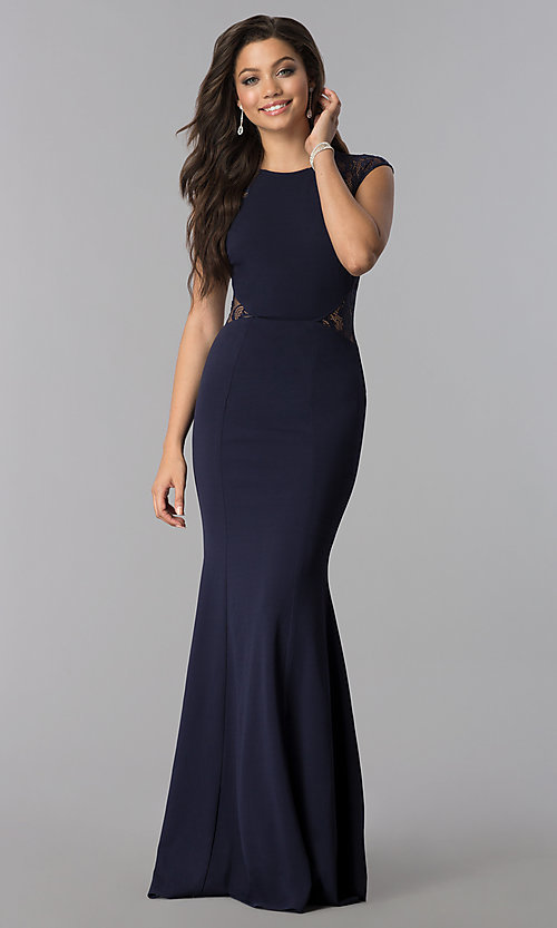 Image of long prom dress with lace shoulders and waist. Style: LP-24550 Detail Image 1