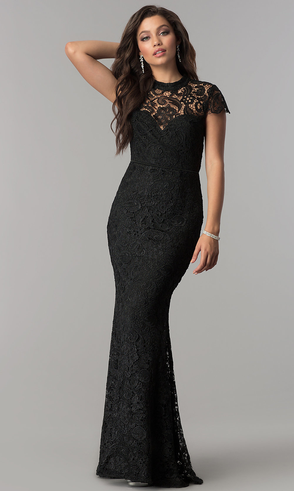216aa0c43d0 ... black lace prom dress with sleeves. Style  LP. Tap to expand
