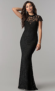 Image of open-back long black lace prom dress with sleeves. Style: LP-24560 Front Image