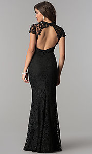 Image of open-back long black lace prom dress with sleeves. Style: LP-24560 Back Image