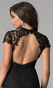 Image of open-back long black lace prom dress with sleeves. Style: LP-24560 Detail Image 2