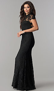 Image of open-back long black lace prom dress with sleeves. Style: LP-24560 Detail Image 3