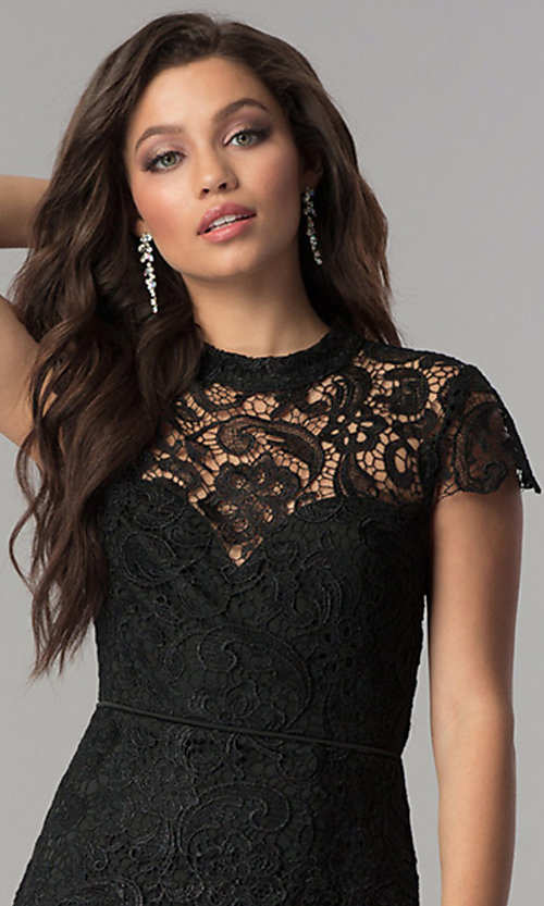 Image of open-back long black lace prom dress with sleeves. Style: LP-24560 Detail Image 1