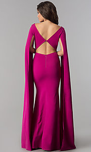 Image of long prom dress with floor-length split sleeves.  Style: LP-24729 Back Image
