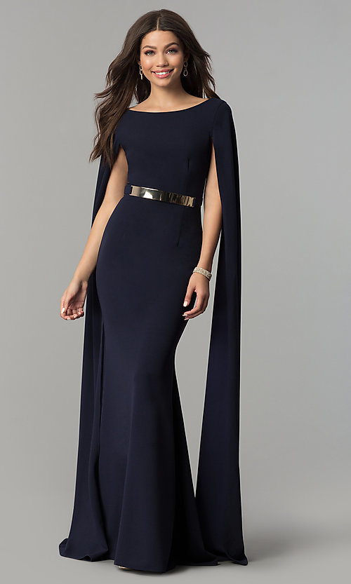 Image of long prom dress with floor-length split sleeves.  Style: LP-24729 Front Image