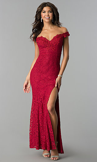 Cheap Long Lace Off-the-Shoulder Formal Prom Dress