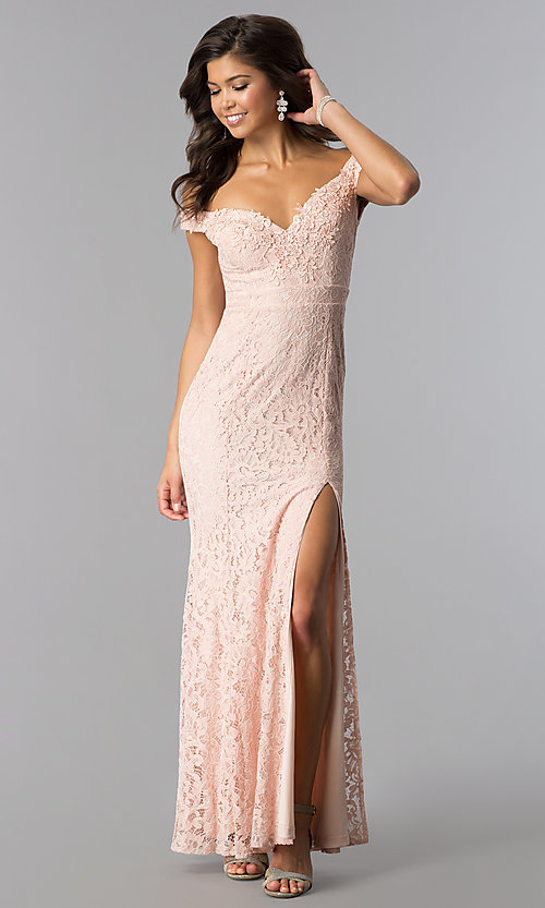 Image of off-the-shoulder long formal lace prom dress.  Style: LP-24500 Front Image