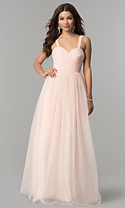 Image of pleated sweetheart-bodice long tulle prom dress. Style: LP-23683 Front Image