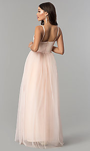 Image of pleated sweetheart-bodice long tulle prom dress. Style: LP-23683 Back Image