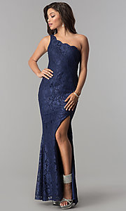 Image of long lace one-shoulder prom dress with side slit. Style: LP-24785 Front Image