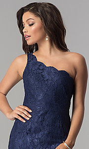 Image of long lace one-shoulder prom dress with side slit. Style: LP-24785 Detail Image 1