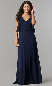 Image of popover long chiffon prom dress with open back. Style: LP-25113 Detail Image 1