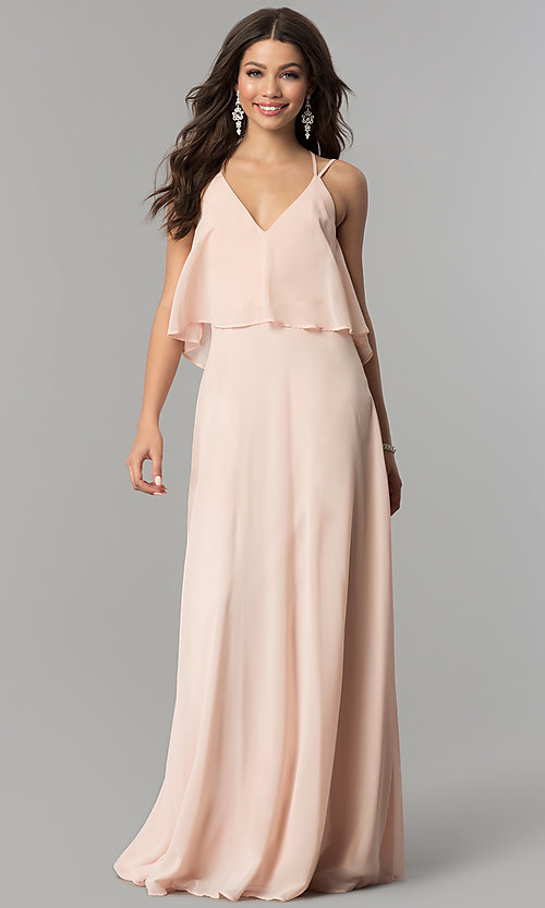 Image of popover long chiffon prom dress with open back. Style: LP-25113 Detail Image 3