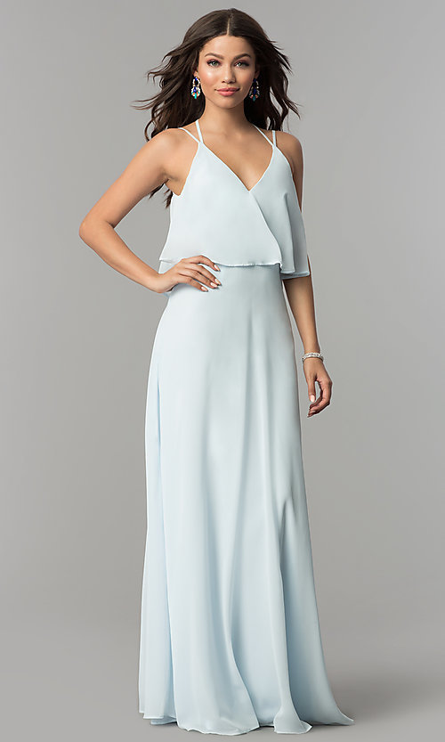 Image of popover long chiffon prom dress with open back. Style: LP-25113 Front Image