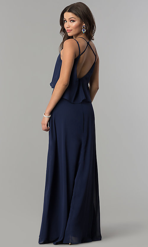 Image of popover long chiffon prom dress with open back. Style: LP-25113 Back Image