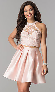 Image of satin and lace short two-piece homecoming dress.  Style: LP-97035 Front Image