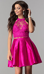 Image of satin and lace short two-piece homecoming dress.  Style: LP-97035 Detail Image 1