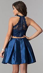 Image of satin and lace short two-piece homecoming dress.  Style: LP-97035 Back Image