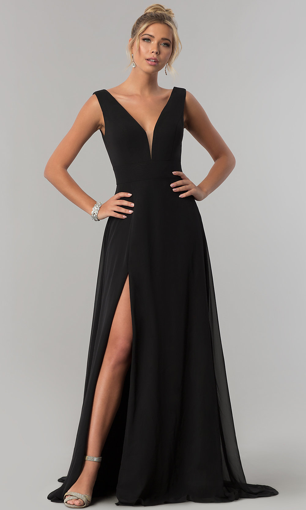 Long V-Neck Chiffon Formal Evening Dress