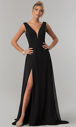 V-Neck Long Chiffon Formal Dress with Deep V-Back